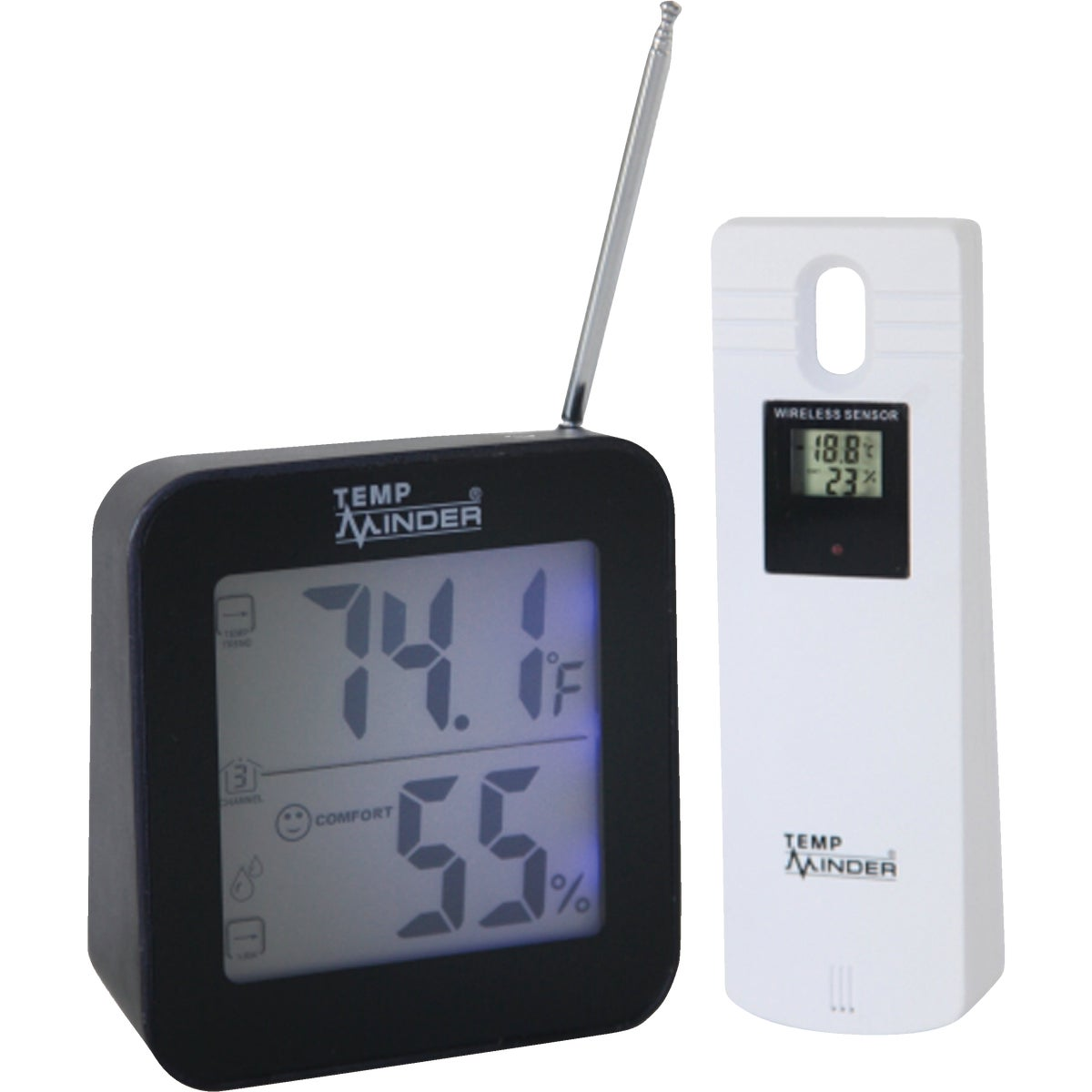 Item 650230, Indoor and Outdoor temperature and humidity. Minimum and Maximum temperature and humidity memory. Programmable temperature alert on all three channels.