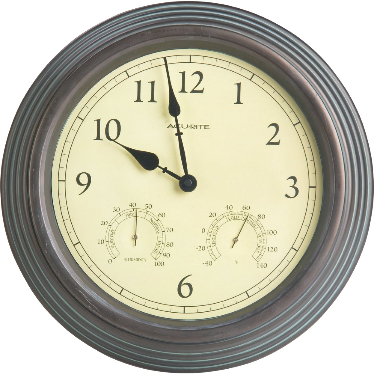 "Item 650242, 15"" indoor/outdoor standard quartz clock with thermometer and hygrometer. Rust-resistant plastic case. Glass lens. Copper patina finish."