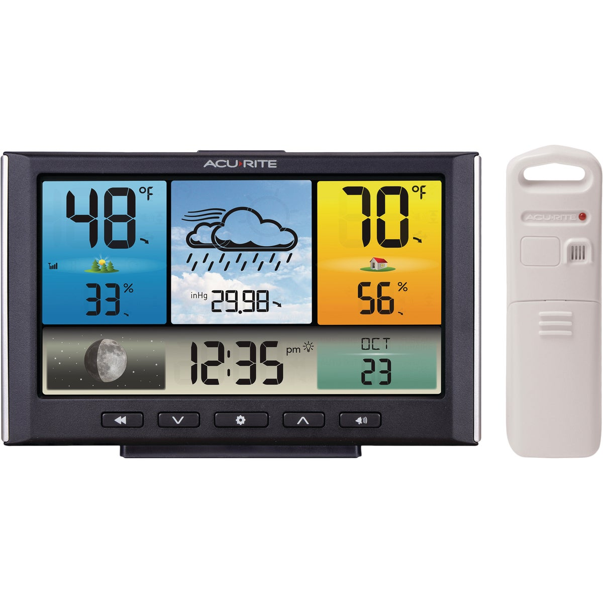 Item 650459, Illuminated color display shows indoor/outdoor temperature and humidity.