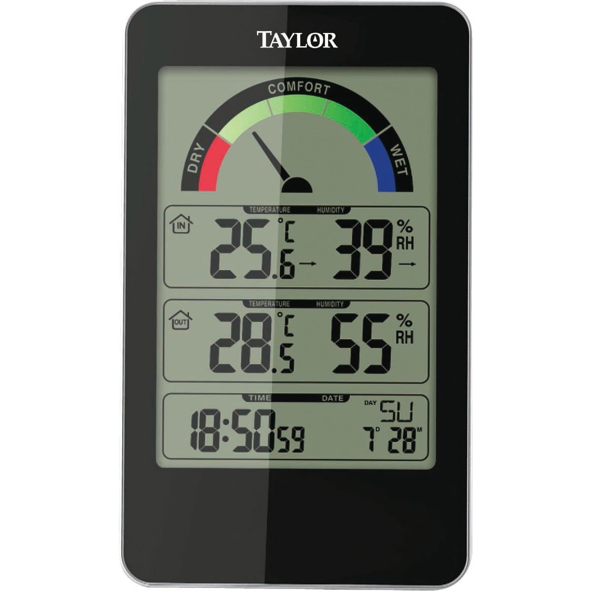 Item 652504, Taylor 1732 thermometer/hygrometer constantly monitors the temperature and humidity inside your home. Features a 5-level humidity comfort level indicator.