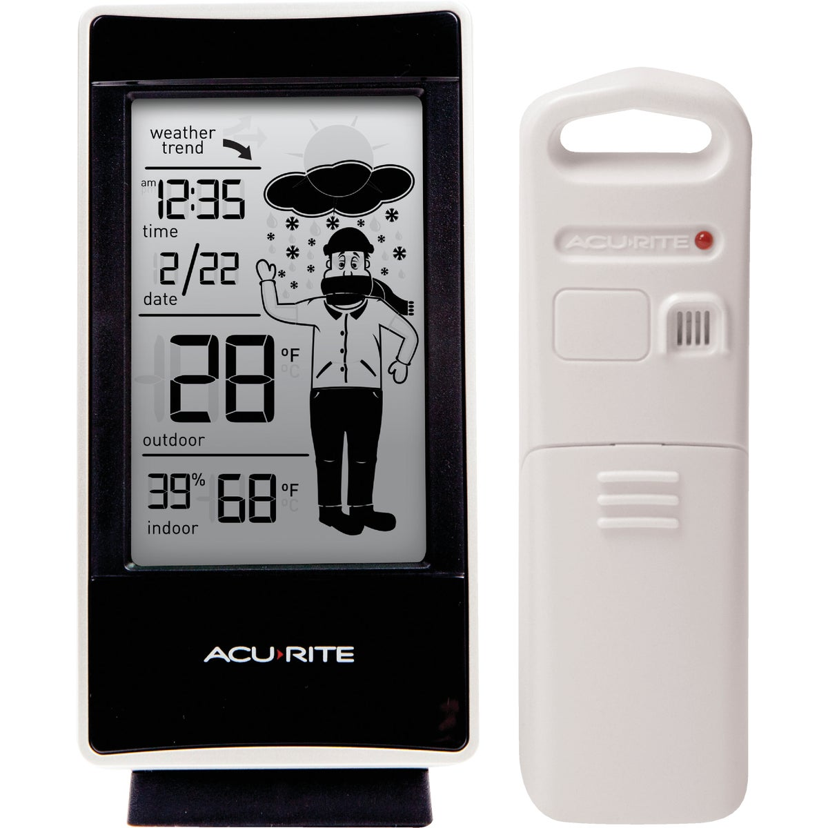 Item 653064, The AcuRite What-to-Wear weather station uses patented Self-Calibrating Technology to provide your personal forecast of 12 to 24 hour weather conditions.