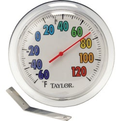 "Item 660760, New, round shape with colorful, bold numbers. 6"" dial thermometer."
