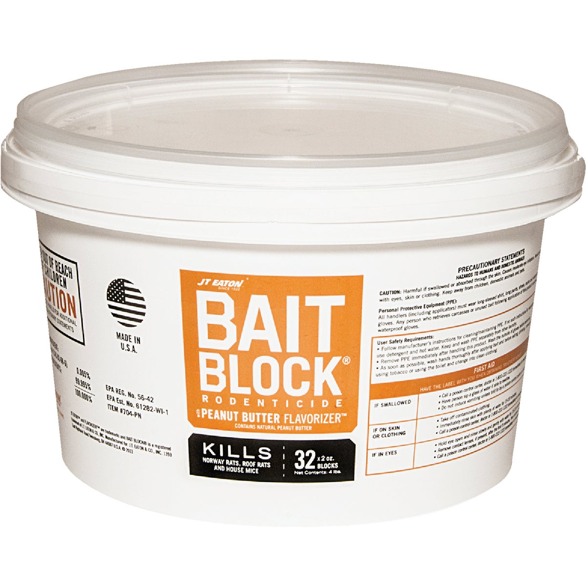 Item 701905, Peanut butter flavor Bait Block for rats and mice. Kills Norway rats, roof rats, and house mice. Contains a first generation anticoagulant bait. 4 Lb.