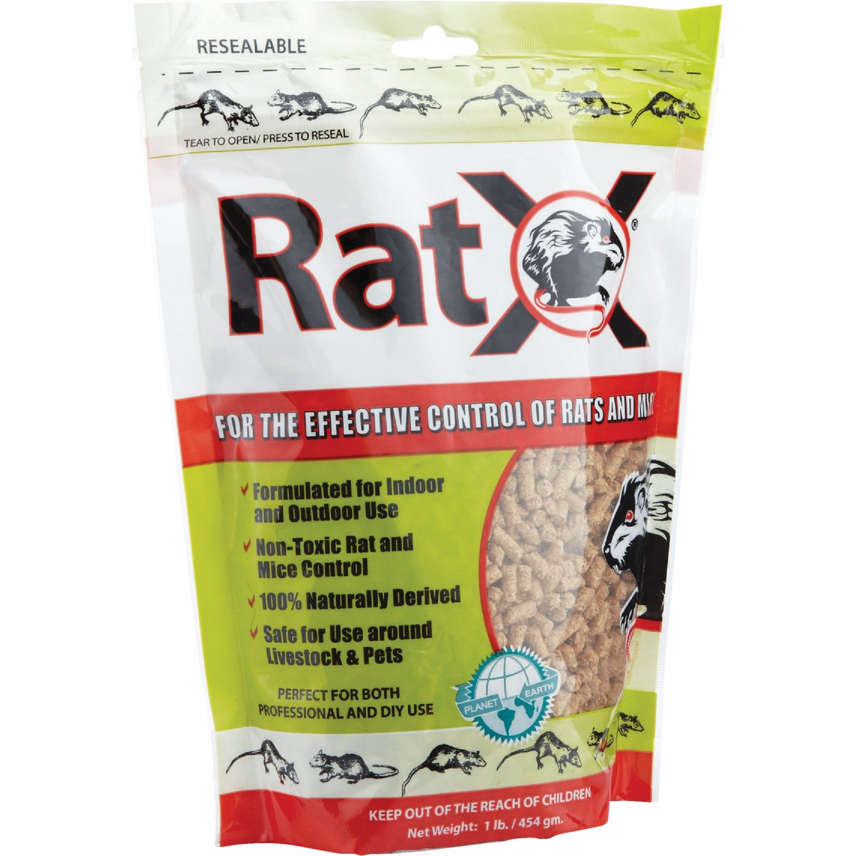 Item 703999, RatX is an all-natural rodenticide that controls rats and mice. Consumed as a food source as part of natural eating habits. Formulated for indoor and outdoor use.