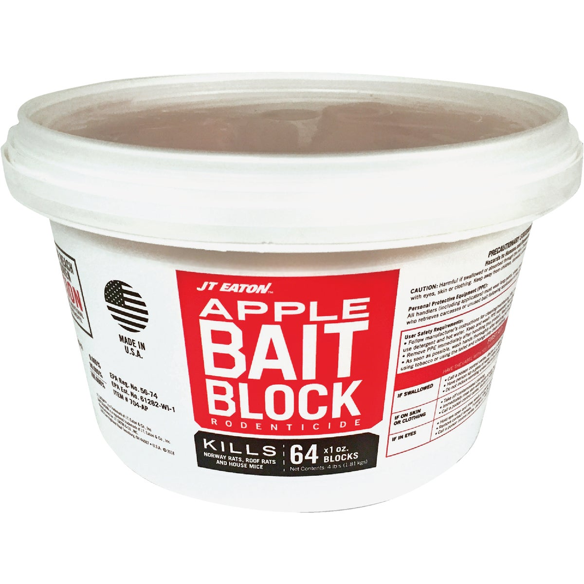 Item 705688, Apple flavored bait block. Features a tamper evident resealable pail. Controls Norway rats, roof rats, and house mice.