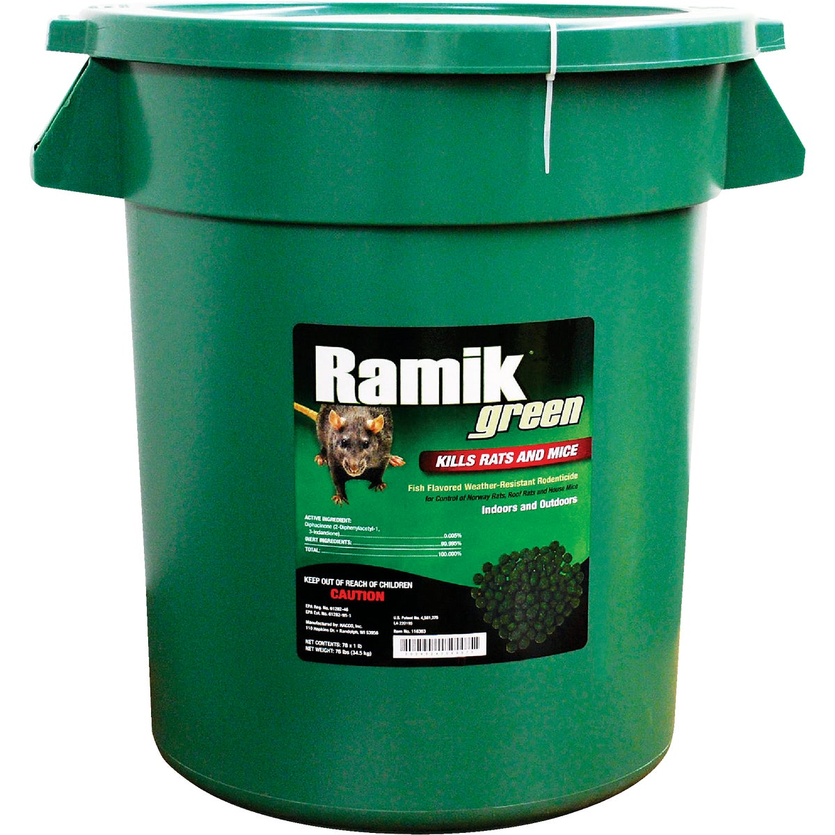 Item 708737, Controls Norway rats, roof rats, and house mice. Moisture-resistant pellets. This product may only be used inside and within 50 Ft.
