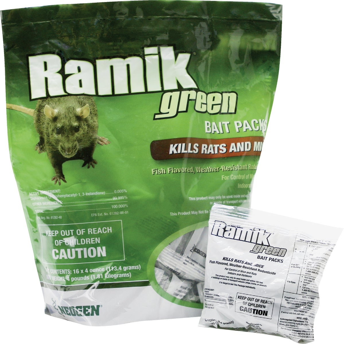 Item 708808, Controls Norway rats, roof rats, and house mice. Moisture-resistant 1/2 In. bait pellets. Packaged in ready-to-use bait packs that rodents gnaw open.
