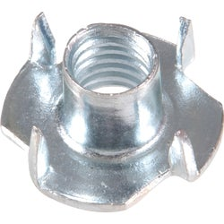Item 719459, Steel, zinc plated T-nut has a long thin body with a flange at 1 end,