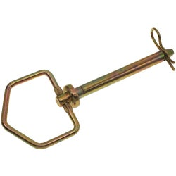 Item 738376, Forged head hitch pin with swivel handle and zinc-plated R clip pin.