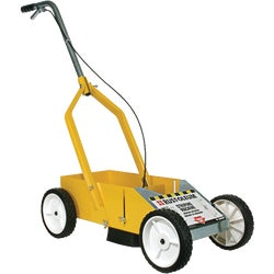 "Item 780643, Easily allows application of sharp lines from 2"" to 4"" in width. For use with striping paints. Cart provides storage for additional cans. Durable metal construction."