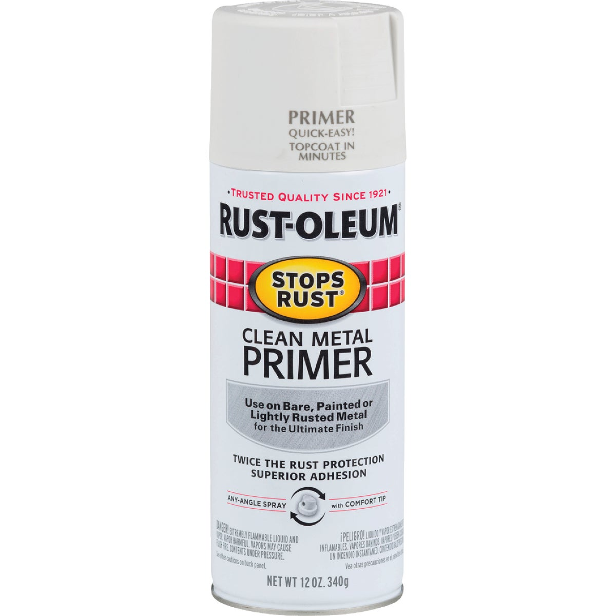Item 782656, Designed for use on clean bare metal, previously coated or lightly rusted metal. This primer is compatible with Rust-Oleum Stops Rust brand finishes.