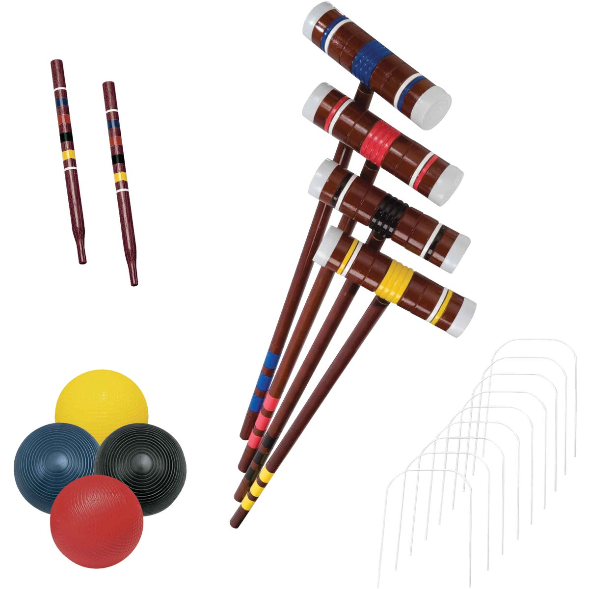 Item 844160, High quality croquet set. Includes 4 wooden mallets, 4 colored balls, (2) 14-inch stakes, and 9 weather-coated wickets.