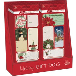 Item 900385, 20-count peel & stick Christmas gift tags - 100 packs per PDQ.