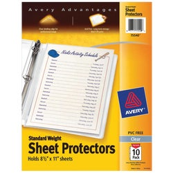 Item 973408, Standard weight reference sheet protectors. Poly bag of 10. Diamond clear.